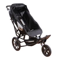 The Delta Recline have a reclineablle back, which aloows your child to take a nap or just rest while outside, a Extended Canopy can be attached for sensitive children in need of a comfort zone