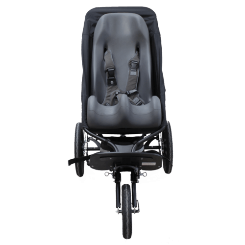the delta jogger can be fitted with a sitter canvas which makes it possible to fit a sitter seat into the push chair and bring it along outdoor, to make the most comfortable travel for the disabled child as possible