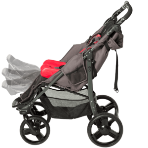 The EIO can be fitted with or Sitter seat size 1-2 and liner seat size 1-2, besides this the EIO also have a adjustable footrest so if your child would like to rest or sleep you can recline the back and almost lay flat like in a bed
