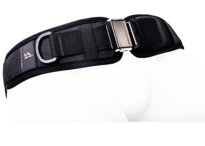 2 point hip harness with center push release and a single adjustable strap