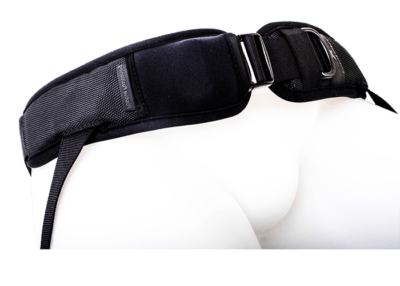 4 point hip harness with covered side release and single adjustable strap
