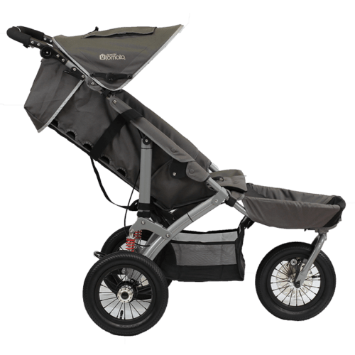 The jogger is equipped with a reclineable back for the user to be able to rest while in the push chair
