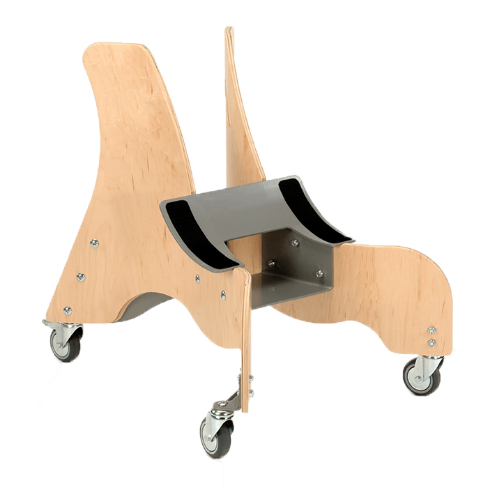 This Wooden mobile base is made to mount a MPS seat onto, which will make it easy accesable to your child and is also easy to maneuvre around the house as well as the instution