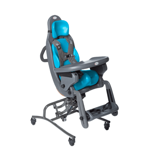 The MPS Hi-Low is made for kids who need full body support, and with the MPS it is possible to tilt the user both backwards up to 30 degrees and 10 degrees forewards and not only that it is also able to be height adjusted, and it can be complimented with a tray which makes it easy to eat of as is very easy to clean afterwards