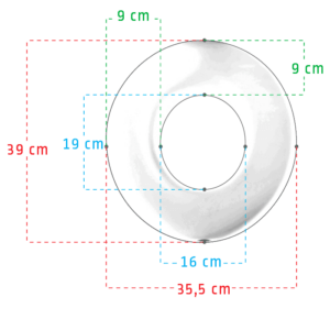 For the round Potty seat measurements are following. Inner circle 19 x 16 cm and 39 x 35,5 cm with a average 9 cm of soft touch padding circle