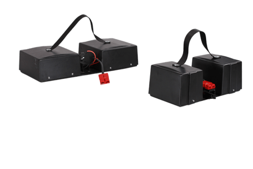 The Electric motor have two different batteries, one which is smaller and lighter for normal trips/walks, while the other is for longer trips and runs