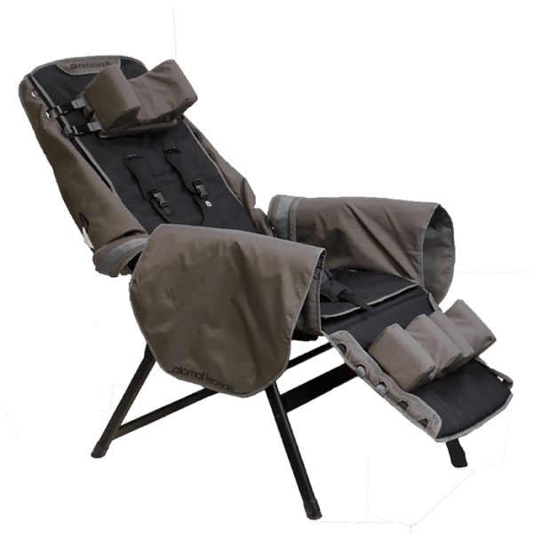 Recliner is great for a full body support, as it can be fitted with our Liner Hip-Flex and you will be able to bring it to a camping site or use it in a regular reclinable chair