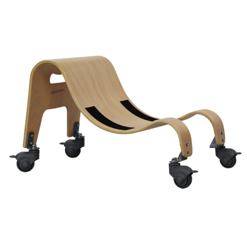 The Wooden base comes with both stationary feet and castors/wheels which allows your child to either move around by themself or get pushed around indoor without scratching the floor it also comes i 2 different sizes, and allows all five of the Sitter Seats to be applied