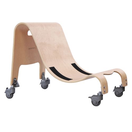 The Wooden base comes with both stationary feet and castors/wheels which allows your child to either move around by themself or get pushed around indoor without scratching the floor