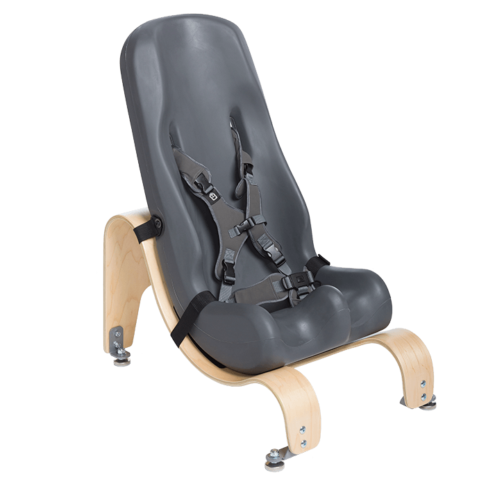 The Sitter Seat can like the floor base be mounted in differnt angels to make sure your child sits in the most comfortable position, Grey Dark Grey