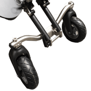 The Delta can the equipped with our swivel wheels which makes it much easier to maneuvre around indoor as you do not have to tilt the push chair to turn