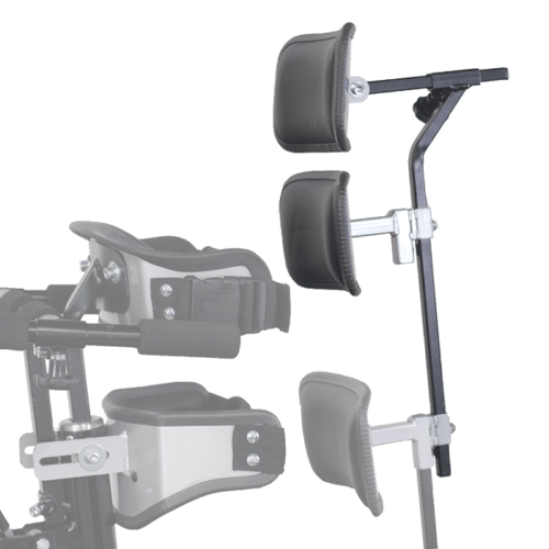 Walking Frame with loweer back, shoulder and head support attached for user without a controlled upper body and it prevents them from falling out of the frame