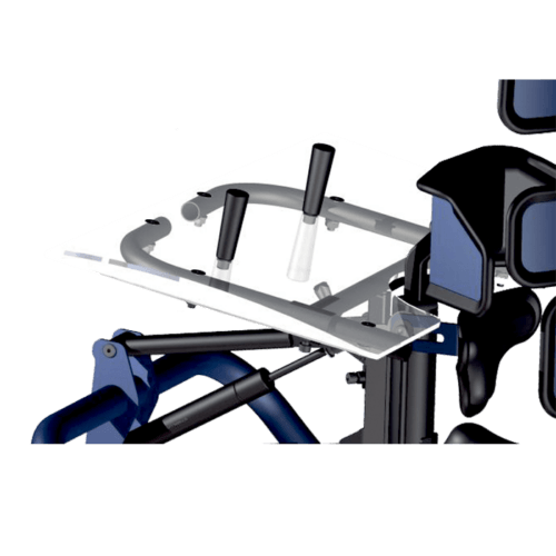 The Walking Frame can be equipped with a transparent tray with suction holders