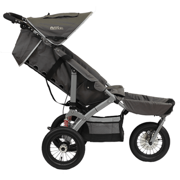 Jogger push chair seen in profile with medical storage room underneath